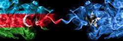 Azerbaijan, Azerbaijani vs Somalia, Somalian smoky mystic flags placed side by side. Thick colored silky abstract smoke flags