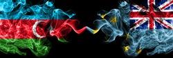 Azerbaijan, Azerbaijani vs Tuvalu, Tuvaluan smoky mystic flags placed side by side. Thick colored silky abstract smoke flags