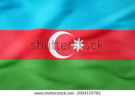 Azerbaijan fabric flag background texture.