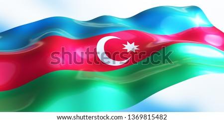 Azerbaijan flag 3d render
