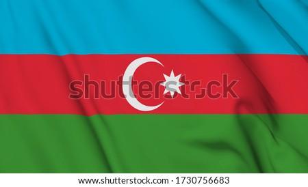Azerbaijan flag is waving 3D animation. Azerbaijan flag waving in the wind. National flag of Azerbaijan. 3d rendering