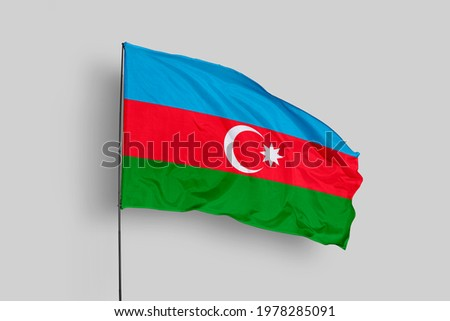 Azerbaijan flag isolated on white background with clipping path. close up waving flag of Azerbaijan. flag symbols of Azerbaijan. Azerbaijan flag frame with empty space for your text.