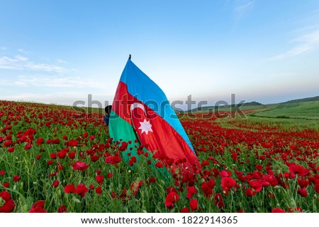Azerbaijan flag landscape tulip flower