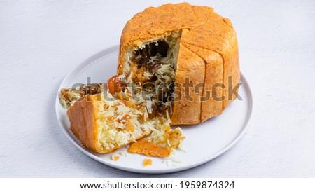 Azerbaijan food. Shah pilaf in plate isolated on white. Azerbaijan pilaf