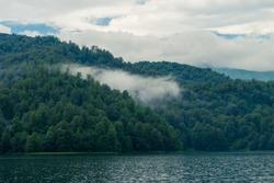Azerbaijan, Goygol: Panoramic view landscape scenery on famous Lake  near Ganja