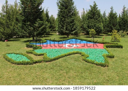 Azerbaijan shape with flag colours in Heydar Aliyev Park in Ganja