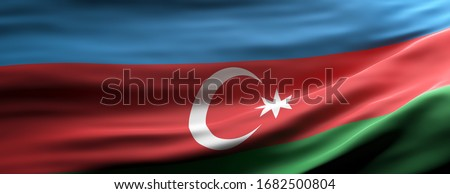 Azerbaijan sign symbol. Azerbaijan national flag waving texture background, banner. 3d illustration