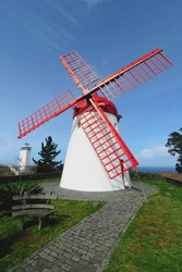 Azores ancient windmill at Sao Miguel island, Azores, Portugal