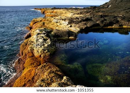 azores coast - stock photo