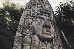 Aztec sculpture in amusement park