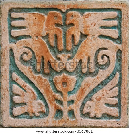 Aztec style wall decoration - stock photo