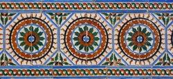 Azulejo, beautiful tin-glazed ceramic tilework decorating the Alcazar of Seville, Spain