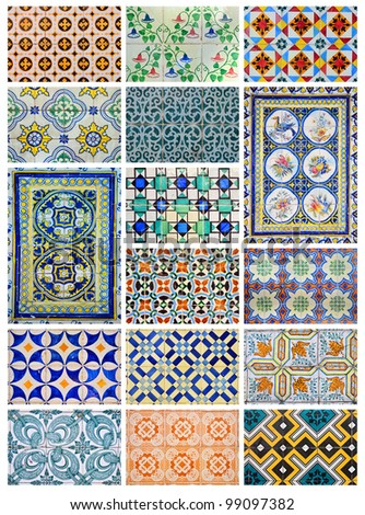 Azulejo, (from the Arabic word Zellige) is a form of Portuguese painted, tin-glazed, ceramic tilework. It has become a typical aspect of Portuguese culture. - stock photo