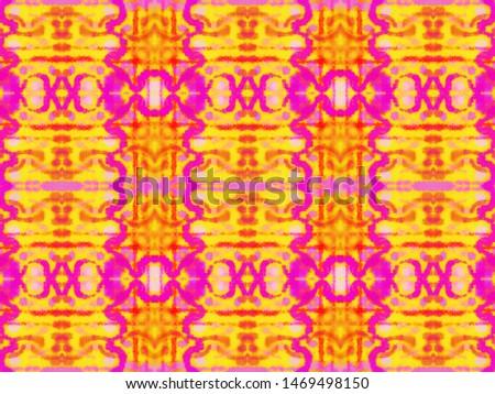 Azulejo Ornament. Ehnic Ornament. Red and Orange Ink Stripes. Ornamental Tribal Carpet Design. Geometric Artistic Endless Background. Seamless Watercolor Azulejo Ornament.