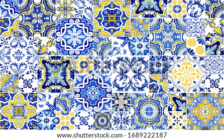 Azulejos tile wallpaper. Traditional Portuguese Mosaic, horizontal tile desoration. Watercolor artwork, blue and yellow tiles. Antique ceramics tileable, heritage. Old painted panel, floral pattern