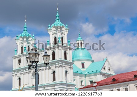 Azure and red roofs of the city, Cathedral of St. Francis Xavier in Grodno, Belarus
