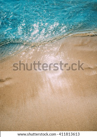Azure blue sea. White clean sand. tropical beach. Travel inspiration. Vacation concept. Top view.