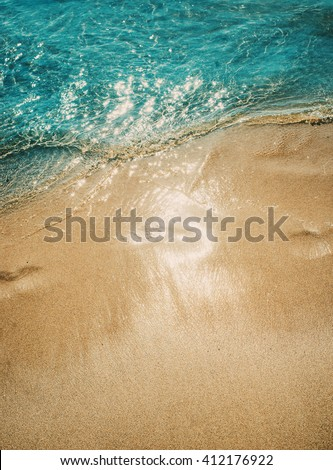 Azure blue sea. White clean sand. tropical beach. Travel inspiration. Vacation concept. Top view.  #412176922
