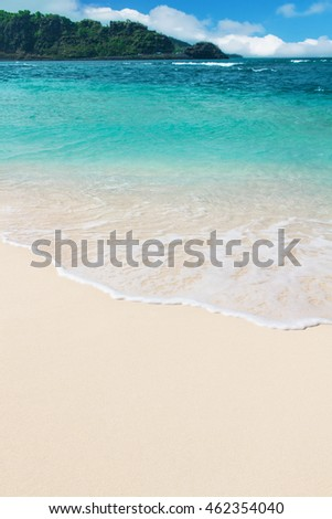azure ocean wave and blue sky with clouds, beach background #462354040