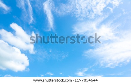 Azure sky or sky blue beautiful white clouds. Everything lies above surface Earth atmosphere and outer space is sky. Cloud is aerosol comprising visible mass of liquid droplets frozen crystals in air #1197854644