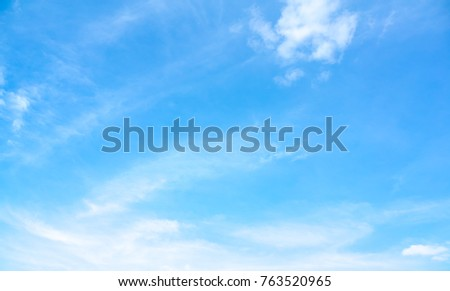 Azure sky or sky blue beautiful white clouds. Everything lies above surface Earth atmosphere and outer space is sky. Cloud is aerosol comprising visible mass of liquid droplets frozen crystals in air - Shutterstock ID 763520965