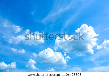 Azure sky or sky blue beautiful white clouds. It is everything lies above surface Earth atmosphere and outer space. Cloud is aerosol comprising visible mass of liquid droplets frozen crystals in air