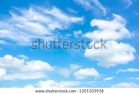 Azure sky or sky blue beautiful white clouds. It is everything lies above surface Earth atmosphere and outer space. Cloud is aerosol comprising visible mass of liquid droplets frozen crystals in air #1201103938