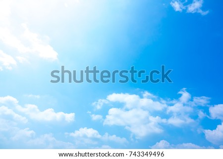 Azure sky or sky blue beautiful white clouds. It is everything lies above surface Earth atmosphere and outer space. Cloud is aerosol comprising visible mass of liquid droplets frozen crystals in air #743349496