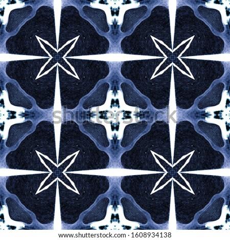 Azure Vintage Seamless Pattern Tile. Ornamental Geometry. Ornamental Geometry. Blue Indigo Oriental style. Dark Texture. Bright Kaleidoscope Pattern Floral Pattern. Floral Elements