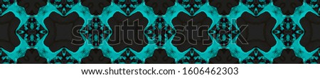 Azure Vintage Seamless Pattern Tile. Ornate Tile Background Ornate Tile Background Black Indigo Embroidery print Dark Texture. Bright Kaleidoscope Effect. Floral Elements Floral Pattern.