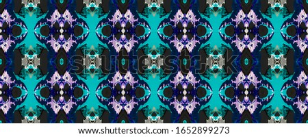 Azure Vintage Seamless Pattern Tile. Ornate Tile Background Ornate Tile Background Blue Indigo Decoration print. Asian Ornament. Luxury Kaleidoscope Art. Floral Pattern. Floral Design.