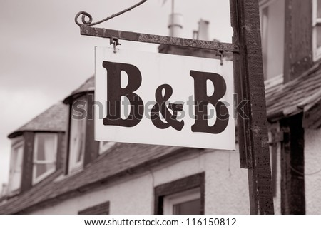 B&B Accommodation in Black and White Sepia Tone
