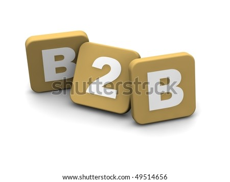 B2B alias business to business ext. 3d rendered illustration isolated on white.