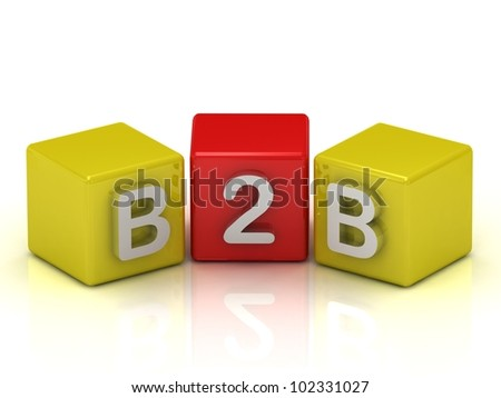 B2B Business To Business symbol on white background - stock photo