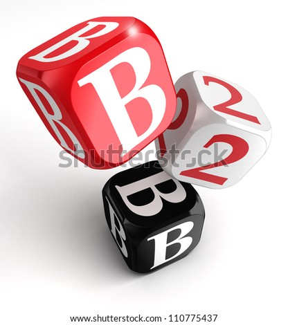 b2b red white black box on white background