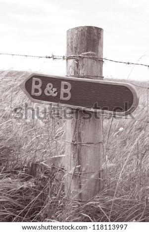 B&B Sign in Rural Setting in Black and White Sepia Tone