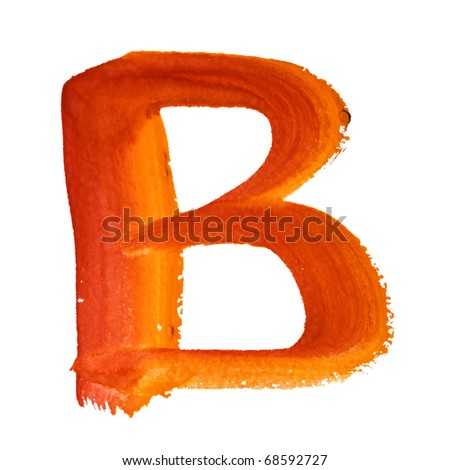 B - Color letters isolated over the white background