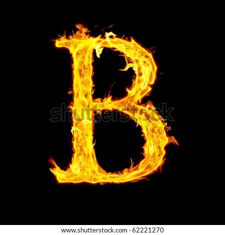 B Letter In Fire B, Fire Letter Stock P...