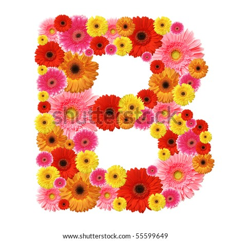 B, flower alphabet isolated on white