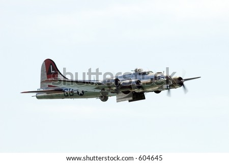B-17 Flying Fortress with open bomb doors - stock photo