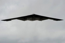 B-2 heavy bomber was designed with stealth technology to avoid radar detection while delivering both conventional or nuclear weapons. Andersen Air Force Base Guam. March 4 2009.