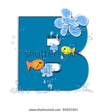 "B, in the alphabet set ""Splish Splash"", two colorful fish are swimming in water drops and waves splashing.  Letters are blue."