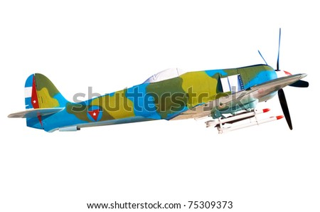 B-26 propeller fighter plane with cuban marks isolated on a white background with clipping path