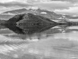 B&W: A view over Glendhu Bay of Lake Wanaka, New Zealand