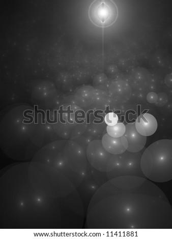 B&W Nova with Star Orbs Clouds