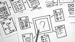 B/W Website Creative planning application developer draft sketch drawing template layout prototype framework wireframe design studio.