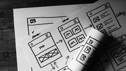 B/W Website Design Wireframe Examples Of Web And Mobile Wireframe Sketches Printable.