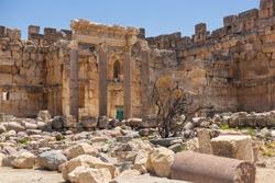 Baalbek temple complex in Lebanon. Massive Roman ruins. Impressive columns and stone walls