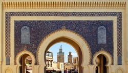 Bab Boujeloud, the Blue Gate in Fez, Morocco