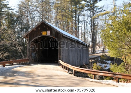 Babb Bridge in Windham, Maine, on a winter day